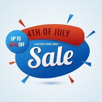 4 juillet, vente bannière design avec 50% de réduction sur l'offre.
