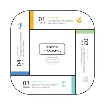 4 onglet infographie de données modèle d'index de ligne mince illustration fond abstrait carré infographique