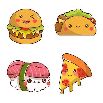 4 personnage mignon de nourriture