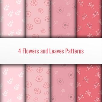 4 set fleurs et feuilles de vecteur des modèles sans soudure. la texture chic et romantique peut être utilisée pour l'impression sur des tissus et du papier ou pour la réservation de chutes. couleurs roses.