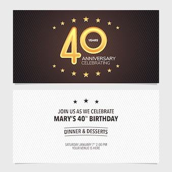 40 ans anniversaire invitation vector illustration