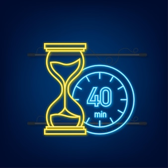 Les 40 minutes, icône de néon de vecteur de chronomètre. icône de chronomètre dans un style plat, minuterie sur fond de couleur. illustration vectorielle.