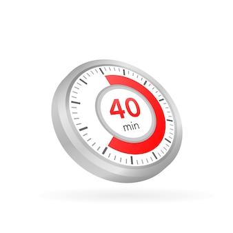 Les 40 minutes, icône de vecteur de chronomètre