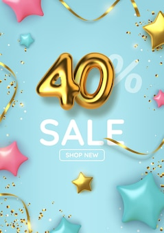 40 rabais sur la promotion de la vente de ballons d'or réalistes avec des étoiles