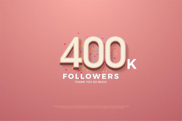 400 000 abonnés avec des chiffres blancs et des gribouillis colorés