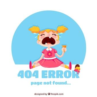 404 arrière-plan d'erreur avec une fille en train de pleurer
