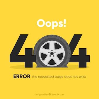 404 fond d'erreur avec la roue de voiture dans le style plat