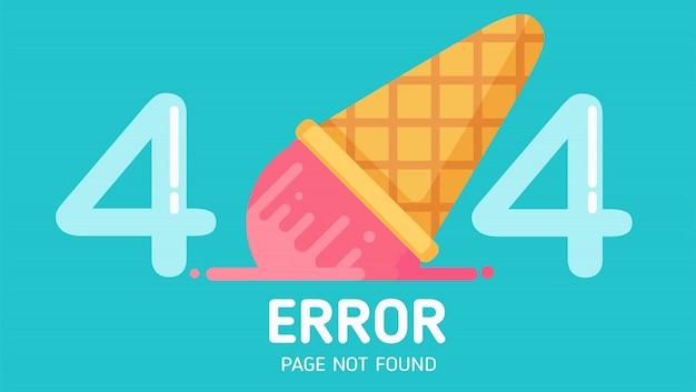 404 page d'erreur de chute de crème glacée introuvable vecteur pastel