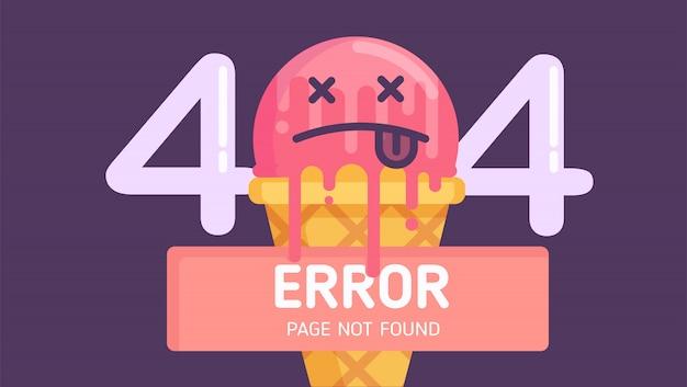 404 page d'erreur de crème glacée introuvable vecteur plat