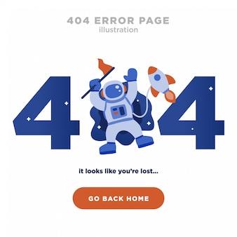 404 page d'erreur introuvable design avec astronaute et fusée
