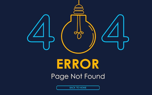 404 page d'erreur introuvable vecteur lampe graphique cassé