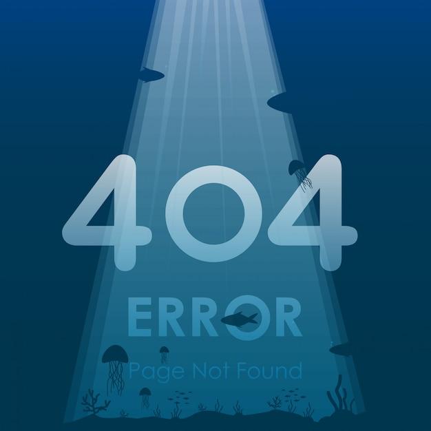 404 page d'erreur non trouvée dans la conception de fond de l'océan