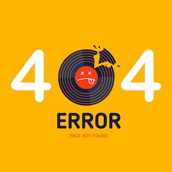 404 page d'erreur non trouvée la musique de vinyle cassé