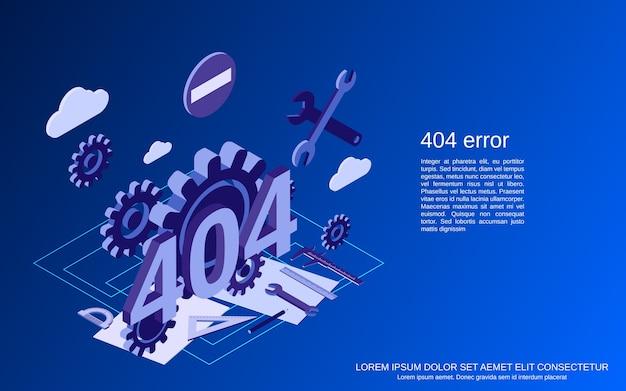 404 page d'erreur plat isométrique