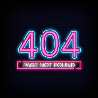 404 page introuvable bannière. 404 erreur modèle de conception enseigne au néon.