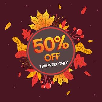 41. bannière de vente d'automne, jusqu'à 50 pour cent de réduction