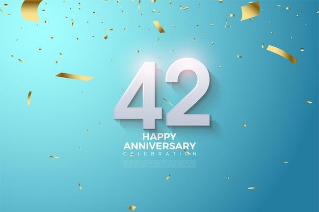 42e anniversaire avec des chiffres 3d ombrés doux