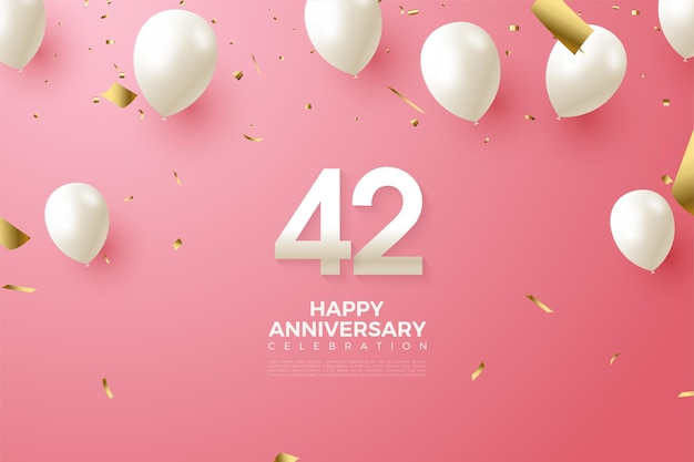 42e anniversaire avec des chiffres et des ballons