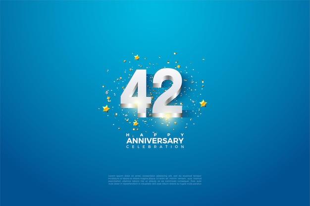 42e anniversaire avec finition argentée brillante