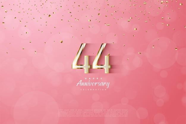 44e anniversaire avec bordure dorée luxueuse