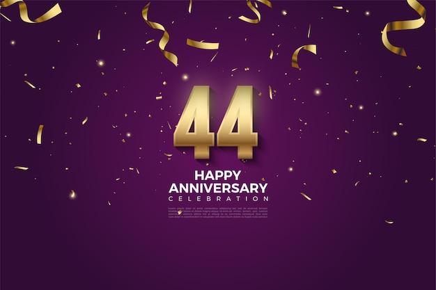 44e anniversaire avec chiffres et chute de ruban d'or