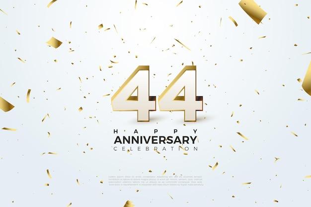 44e anniversaire avec chiffres et feuille d'or