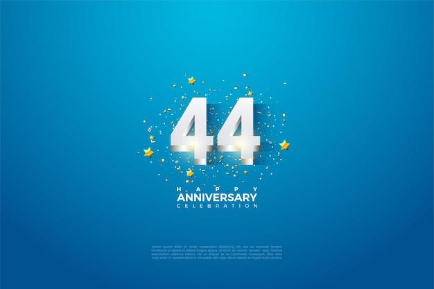 44e anniversaire avec des chiffres plaqués argent