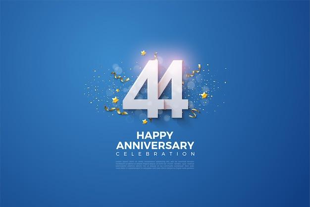 44e anniversaire avec des chiffres qui se chevauchent sur fond bleu
