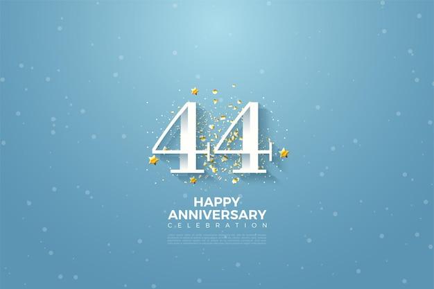 44e anniversaire avec illustration de fond de ciel bleu