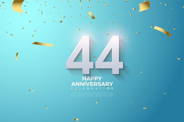 44e anniversaire avec des nombres 3d