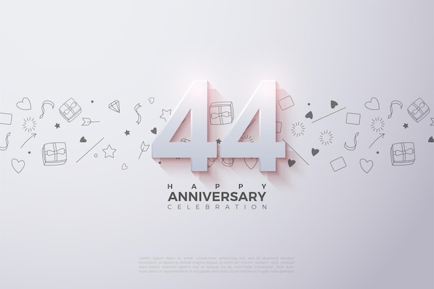 44e anniversaire avec numéro 3d