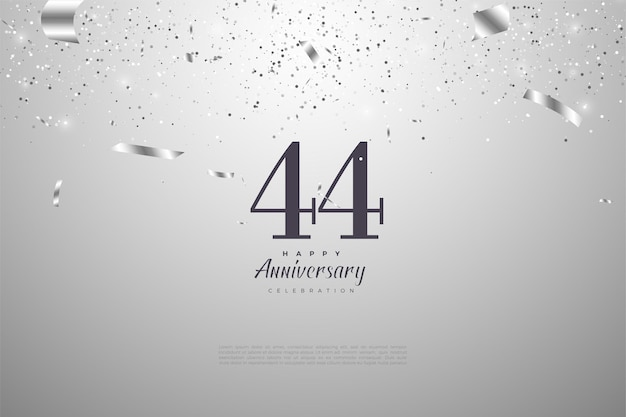 44e anniversaire avec des numéros d'argent et des rubans en baisse
