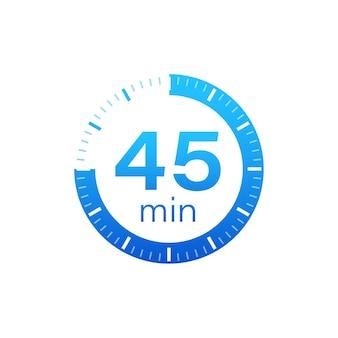 Les 45 minutes, icône de vecteur de chronomètre
