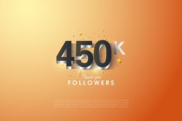 450 000 abonnés avec superposition de chiffres argentés