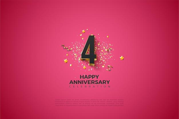 4e anniversaire avec illustration du numéro plaqué or en gras.