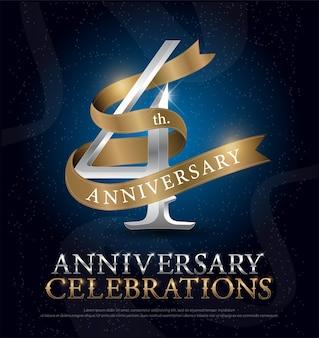 4ème anniversaire célébration argent et ruban d'or