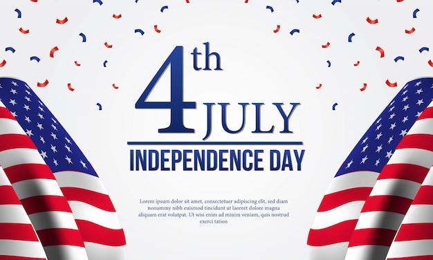 4ème modèle de flyer de la fête de l'indépendance américaine avec indicateur