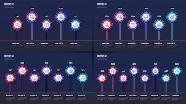 5 6 7 8 étapes conceptions infographiques, chronologie, prese
