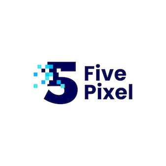 5 cinq chiffres pixel mark numérique 8 bits logo vector illustration icône