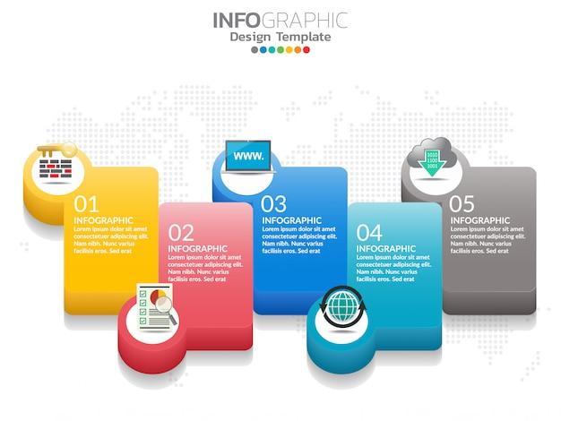 5 étapes du modèle de conception infographie chronologie avec options, diagramme de processus.