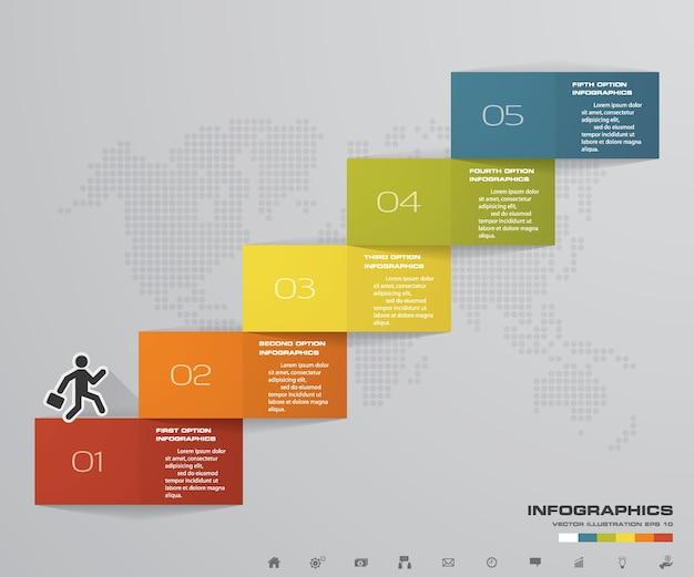5 étapes escalier élément infographique pour la présentation.