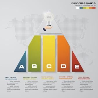 5 étapes pyramide avec espace libre pour le texte sur chaque niveau.