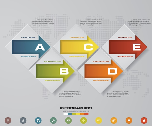 5 étapes sous forme d'éléments infographiques pour la présentation des données.
