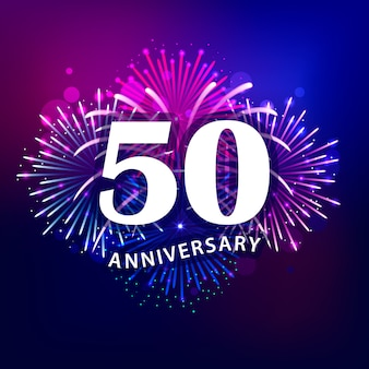 50 anniversaire texte avec feu d'artifice coloré