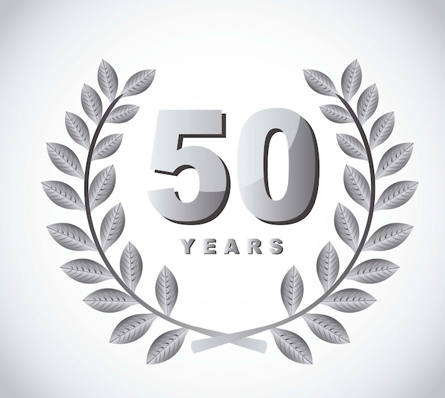 50 ans avec une couronne de laurier sur vecteur fond gris