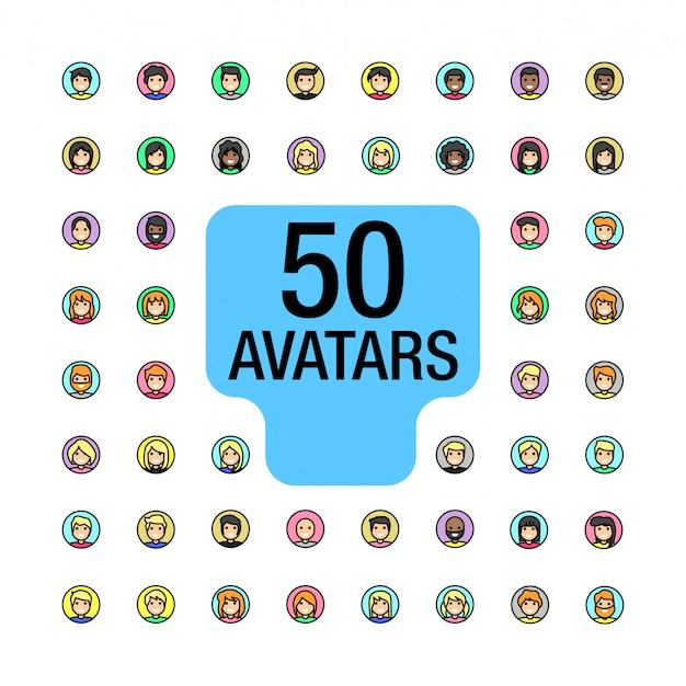 50 avatar rempli ligne cercle