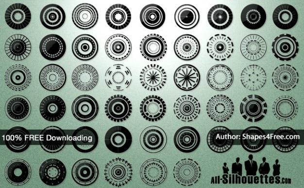 50 cercles de vecteur +   tous les silhouettes