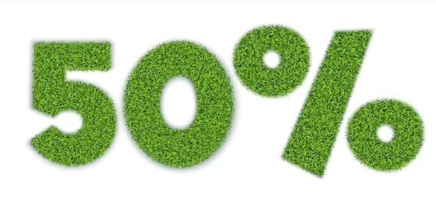 50% de chiffres avec une texture d'herbe. vente saisonnière. bannière pour la publicité.