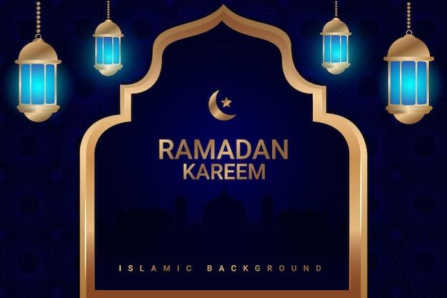 50 ramadan vente fond plat couleur bleu blanc et or