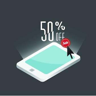 50% de réduction, modèle de vente